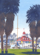 Sail Boats Painting Posters - Coronado Boathouse and Palms Poster by Mary Helmreich