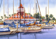 San Diego Paintings - Coronado Boathouse by Mary Helmreich