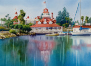 San Diego Paintings - Coronado Boathouse Reflected by Mary Helmreich