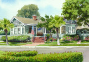 Commissions  Paintings - Coronado Craftsman House by Mary Helmreich