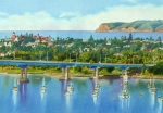 Bay Bridge Painting Prints - Coronado Island California Print by Mary Helmreich