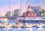 Sail Boats Prints - Coronado Shores Print by Mary Helmreich