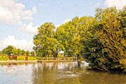 United Kingdom Greeting Cards Posters - Coronation Park Lake Ormskirk Poster by Liam Liberty