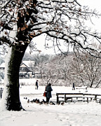 United Kingdom Greeting Cards Posters - Coronation Park Lake Wintry Scene Poster by Liam Liberty