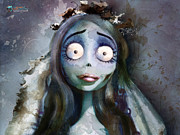 Burton Digital Art Posters - Corpse Bride Poster by Jason Longstreet