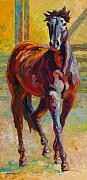 Horses Painting Framed Prints - Corral Boss - Mustang Framed Print by Marion Rose