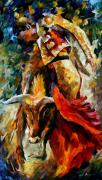 Latin American Framed Prints - Corrida Framed Print by Leonid Afremov