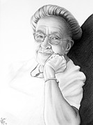 Author Drawings Framed Prints - Corrie ten Boom Framed Print by Danielle R T Haney
