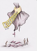 Caricature Drawings - corruption in Kosovo by Samedin Latifi