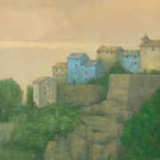 Media Painting Originals - Corsican Hill Top Village by Steve Mitchell