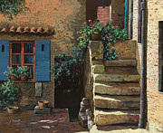 Stairs Painting Prints - Cortile Interno Print by Guido Borelli