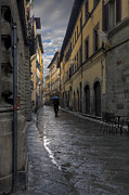 Wine Grapes Prints - Cortona in the rain Print by Al Hurley