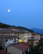 Hilltown Posters - Cortona Under the Tuscan Moon Poster by Greg Matchick