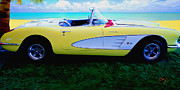 Kirkland Prints - Corvette Beach Party Print by Curt Johnson