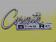 Fifties Automobile Posters - Corvette Emblem Poster by Audrey Venute