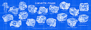 Automotive Art - Corvette Power - Corvette Engines Blueprint by K Scott Teeters