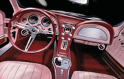 Automobile Artwork. Prints - Corvette Sting Ray Interior Print by Uli Gonzalez