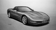 Pencil Drawing Posters - Corvette Poster by Tim Dangaran