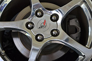 Aluminum Framed Prints Prints - Corvette Wheel Print by John Rosa