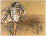 Dancer Art Pastels Prints - Coryphee Resting Print by Edgar Degas