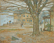 Fallen Leaf On Water Pastels Framed Prints - Cos Cob in November Framed Print by Childe Hassam