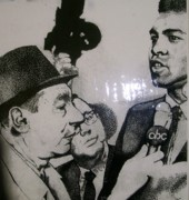 African-american Drawings - Cosell and Clay by Keith Burnette