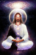 Galaxy Digital Art Posters - Cosmic Christ Poster by George Atherton