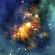 Escape Digital Art Posters - Cosmic Image Of A Colorful Nebula Poster by Corey Ford