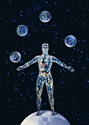 Other Worlds Posters - Cosmic Man Juggling Worlds, Artwork Poster by Paul Biddle