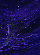 Spirals Mixed Media Posters - Cosmic Tree Blue Poster by First Star Art