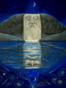 Mystical Pastels Prints - Cosmic Wizard Reflection Print by Sue Halstenberg