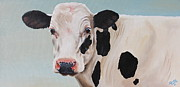 Black Art Paintings - Cosmoo Cow by Laura Carey