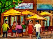 Crowds Paintings - Cosmos  Fameux Restaurant On Sherbrooke by Carole Spandau