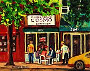 French Fries Painting Posters - Cosmos Famous Montreal Breakfast Restaurant Poster by Carole Spandau