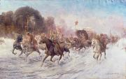 Winter Landscape Paintings - Cossacks in a winter landscape   by Anton Baumgartner Stoiloff