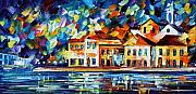 Greece Painting Originals - Costal Glimpse by Leonid Afremov
