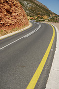 Yellow Line Photo Prints - Costal road Print by Sami Sarkis