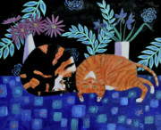 Tortie Paintings - Cosy companions by Mary Stubberfield