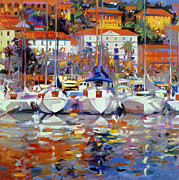 Impressionism; Impressionist; Harbour; Harbor; Sea; Ocean; Ship; Boat; Sail; Sailing;water Prints - Cote du Midi Print by Peter Graham