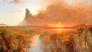Red Sky Framed Prints - Cotopaxi Framed Print by Frederic Edwin Church