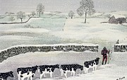 Winter Landscapes Posters - Cotswold - Winter Scene Poster by Maggie Rowe