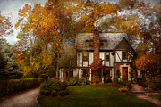 Autumn Scenes Prints - Cottage - Westfield NJ - A home like any other Print by Mike Savad