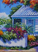 Clarke Paintings - Cottage and Bougainvillea by John Clark