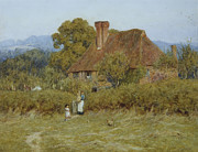 Victorian Gate Framed Prints - Cottage at Broadham Green Surrey in Sunset Light Framed Print by Helen Allingham