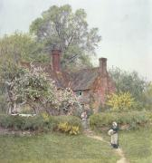 Trees Blossom Paintings - Cottage at Chiddingfold by Helen Allingham
