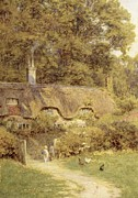 Geese Paintings - Cottage at Farringford Isle of Wight by Helen Allingham