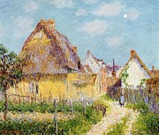 Thatch Framed Prints - Cottage at Le Vaudreuil Framed Print by Gustave Loiseau