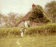 Standing Painting Framed Prints - Cottage at Pinner Middlesex Framed Print by Helen Allingham