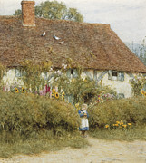 Female Artist Prints - Cottage at West Horsley Surrey Print by Helen Allingham