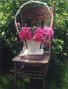 Garden Chair Framed Prints - Cottage Chic Garden Chair Basket of Peonies Framed Print by Kathy Fornal